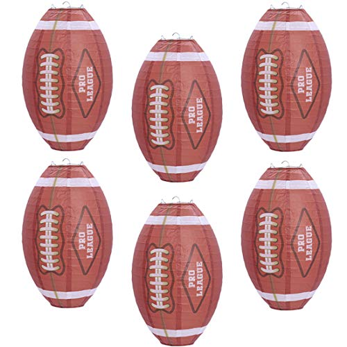 UNIQOOO 6Pcs Football Super Bowl LV 2021 Sports Lantern Set, Large 12 Inch, Hanging Japanese Paper Lantern Lamps, Easy Assemble Reusable, Game Day Fan Birthday Bar Party Favor Home Decor Prop