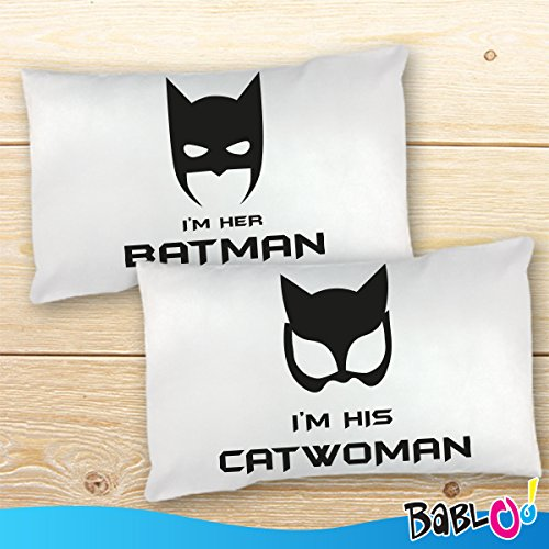 Coppia di Federe Love You And Me Batman e Catwoman