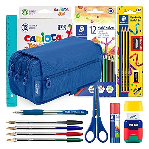 ColePack Lote de Estuche Portatodo Triple con 3 Cremalleras y Material Escolar de Primeras Marcas Incluido (Triple Azul O.)