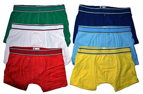 Dealzone 6er Pack Kids Jungen Boxershorts Uni Retroshorts, Mehrfarbig, 104-110 (Etikette 4-5)