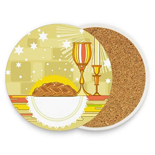 Happy Shabbat Challah Brot, rund, saugfähig, Keramik, Stein-Untersetzer, Kaffeetassen, Matten-Set für Zuhause, Büro, Bar, Küche (Set von 1 Stück), keramik, multi, 4er-Set