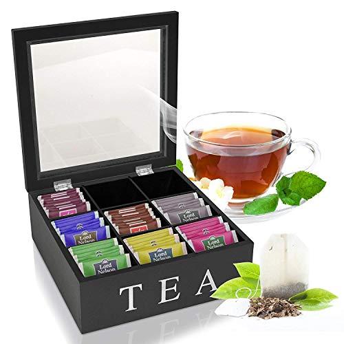 Oramics Teebox mit 6 oder 9 Fächern in Weiß oder Schwarz im edlen Holzdesign Teekiste Tee Aufbewahrung inklusive E-Book (Schwarz, 9 Fächer)