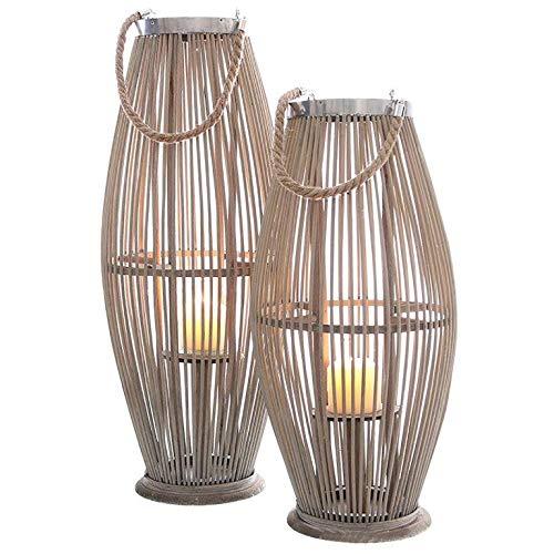 Annastore Laterne aus Bambus mit Henkel und Glaszylinder H 40 bis 74 cm - Bambuslaterne Windlicht aus Bambus Gartenlaterne Größe H 74 cm