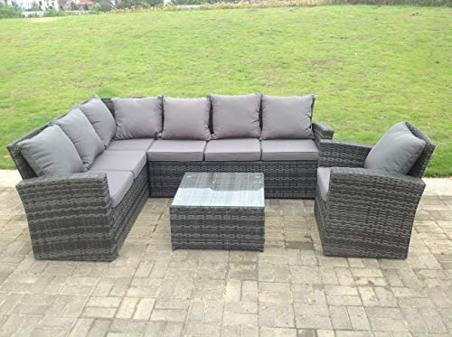 Fimous 7 Seater rattan corner sofa set square coffee table chair outdoor furniture grey