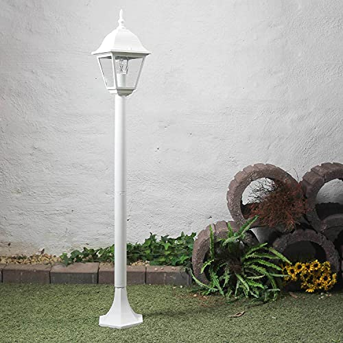 Lámpara de pie rústica en blanco E27 de hasta 60 vatios 230V de aluminio y cristal auténtico luz de pedestal para lámparas de terraza/jardín Lámpara de terraza con iluminación exterior