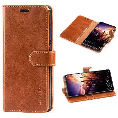 Mulbess Handyhülle für Huawei P30 Pro Hülle, Leder Flip Case Schutzhülle für Huawei P30 Pro Tasche, Cognac Braun