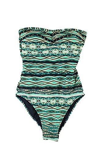 Jessica Simpson Women's Diamond Daze Bandeau One-Piece Swimsuit, Navy/Multi, Small