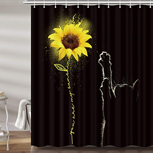 Sunflower and Cat Shower Curtains for Bathroom, Yellow...
