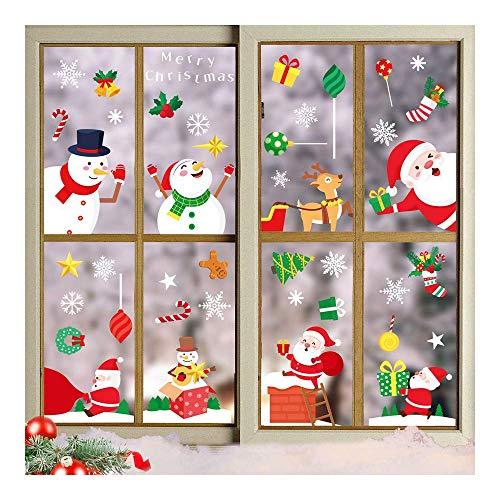Wondsea Pegatinas de ventana de Navidad, 17 hojas de Papá Noel y...