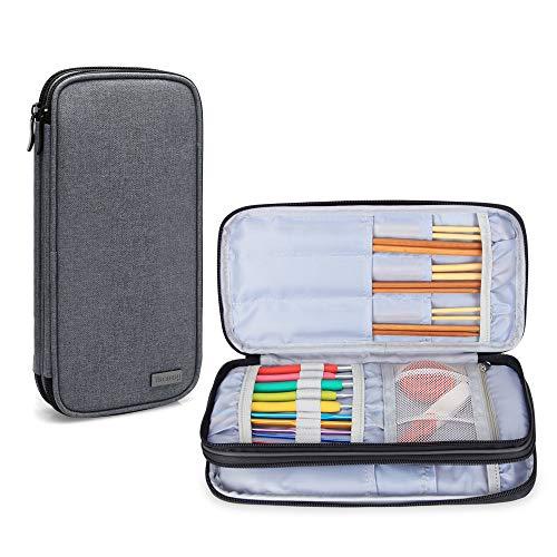 Teamoy Stricknadel Tasche, Stricknadeletui für Stricknaden(Die längste groß 10 Zoll), Häkel, Rundstricknadel, und Zubehör, Grau