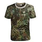 EElabper De Secado rápido Camuflaje de Manga Corta de los Hombres de Combate Camiseta Camiseta Militar Camuflaje al Aire Libre Senderismo Caza Camisas