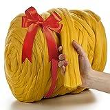 MeriWoolArt 100% Lana Merino Hilo Grueso de Manta XXL 4-5 cm, Hilo Gigante, Merino Mana Gruesa Suave, Fieltro de Lana Seco Mojado, DIY Manta Grande Lana Regalo Navidad (Amarillo, 4,5 kg Ovillo)