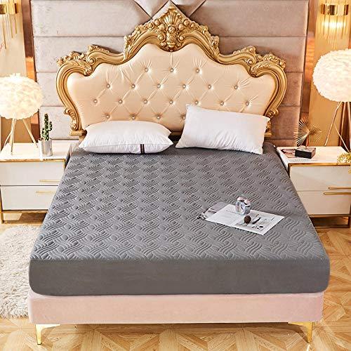 YFGY Sábana Bajera Ajustable Antiarrugas King, Protector de colchón en Relieve Acolchado de Color sólido, Cubierta de sábana para colchón para Dormitorio Hotel Gris 180 * 200 cm