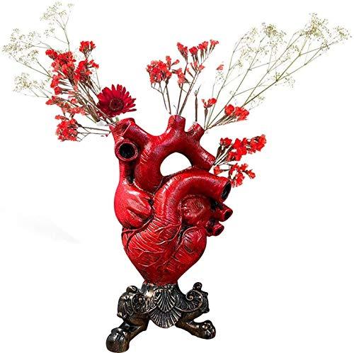 Sofia's Anatomical Heart Vase Resin Flower Pot ?9.75'' Resin Flower Pot Desktop Ornament Modern Decoration for Home Office Coffee Shop Library Decoration Furnishing (Red)