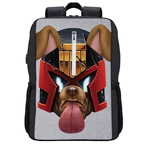 Judge Dredd Dog Snapchat Filter Backpack Daypack Bookbag Laptop School Bag with USB Charging Port