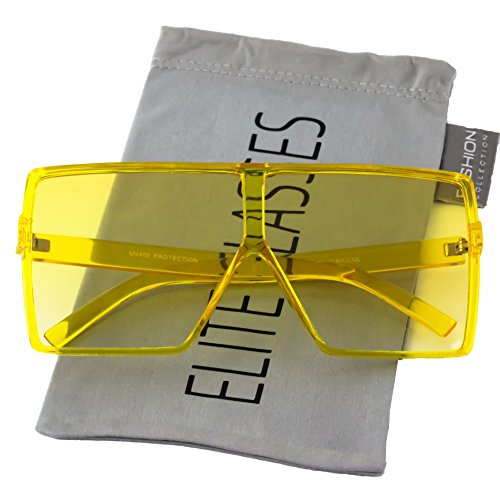 Elite Big XL Large Oversized Super Flat Top Square Multi Tone Color Fashion Sunglasses (Transparent Yellow)