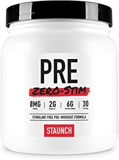 Staunch PRE Zero-Stim - 30 Servings, Aussie Apple Pre-Workout Powder, No Stimulates. with Betapure, L-Citrulline, Vitamin ...