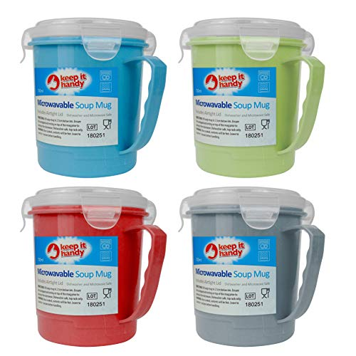 London Empire  4 x 700ml Microwave Soup to Go Container Mugs with Airtight Lid - Assorted Colours - Dishwasher & Microwave Safe
