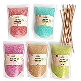Greendoso- Zucchero Colorato per Zucchero Filato 5X160 Gr (Aromi e Colori Naturali) Fragola-Cola-Mela-Marshmallow-Vaniglia + 20 bastoncini riutilizzabili di 28 Cm (Gratis)