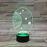 Lámpara de ilusión Galaxy Solar System 3D Light Premio maravilloso de la luz nocturna para niños, control remoto con luz LED interior para la noche