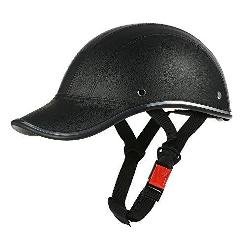 GoolRC Casco de Moto Media Cara Gorra de Béisbol con Visera (Negro)