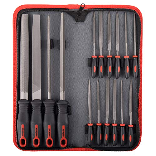 Hi-Spec 16 Piece Carbon-Steel Hand & Needle File Tool Set. 4 Piece Large Flat, Half-Round, Round & Triangle & 12 Piece Fine Micro Needle Files for DIY Craftwork, Metal & Wood Work
