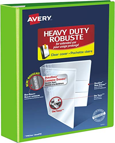 """Avery Heavy Duty View 3 Ring Binder, 3"""" One Touch EZD Ring, Holds 8.5"""" x 11"""" Paper, 1 Chartreuse Binder (79779)"""