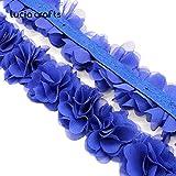 1Yard 10 colores flor 3D 5cm gasa encaje Trim cinta tela para apliques costura vestido de boda decoración accesorios v0101, c7 azul real