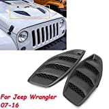 Flash2ning / 2PCS Hood Vents for 07-16 Jeep 10th JK Wrangler Power Dome Louvers Engine Inlet Vents 2007 2008 2009 2010 2011 2012 2013 2014 2015 2016