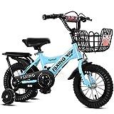 Bicicleta para bebé, bicicleta para niños, bicicleta de montaña para niños, bicicleta de montaña, regalo para niños, rueda de asistencia con flash de rueda audaz ( Color : Blue , Size : #2-12 in )