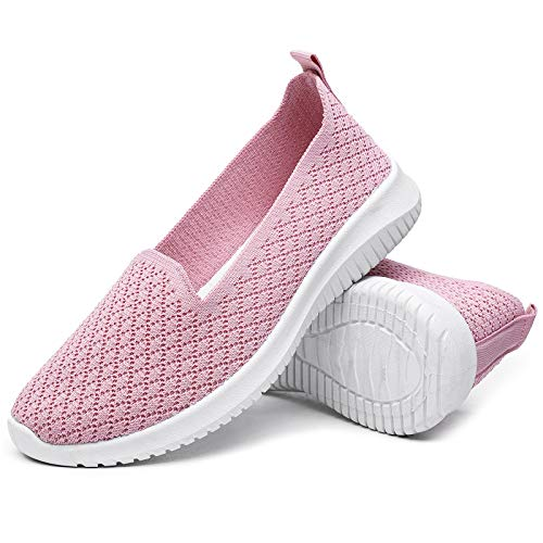 BENPAO Womens Slip On Shoes Knit Mesh Casual Loafer Shoes Nurse Walking Sneakers (Pink, Numeric_8)