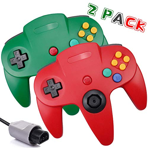 N64 Controller, Upgrade Joystick Classic Video Gamepad for Nintendo N64 Video Game Console N64 System (Red and Green)