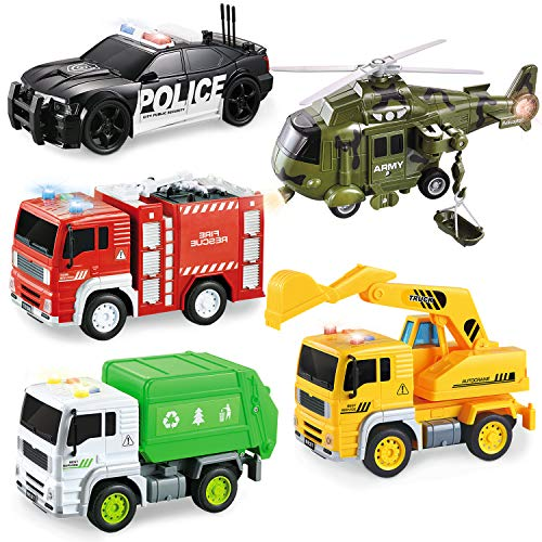 5 Pack Friction Powered Truck Toy Set(8 Inch) Including Garbage Truck, Construction Truck, Fire Truck, Police Car, Helicopter, All with 4D Stunning Light and Sound, Vehicles Toys for Boy Toddler Kid