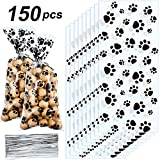 Blulu Pet Paw Print Cone Cellophane Bags Heat Sealable Treat Candy Bags Dog