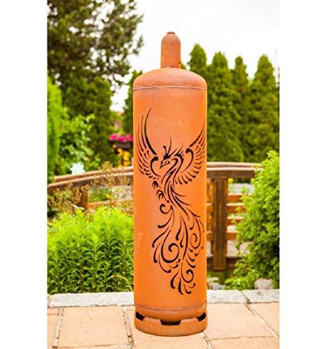 Feuertonne Gasflasche Phönix 128 cm hoch - Feuerstelle