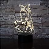 KangYD Sänger Katze Mädchen 3D Nachtlicht, LED Dekor Tischlampe, Nachttischlampe, Touch 7 Farbe (Crack White), Warm, Liebhaber Geschenk