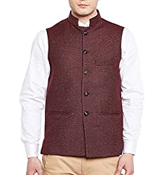 Wintage Mens Wool Tweed Bandhgala Jacket Waistcoat