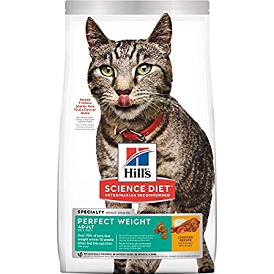 Hill's Science Diet Dry Cat Food, Adult, Perfect Weight for Healthy Weight & Weight Management, Chicken Recipe, 3 lb Bag