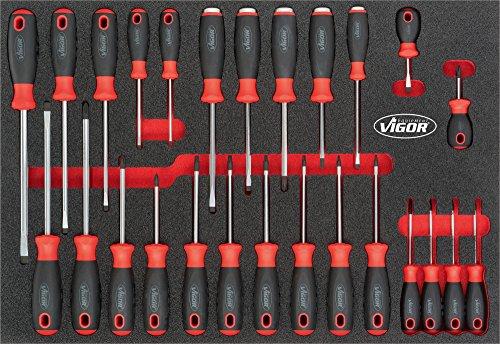 Vigor V4588 3/3+ Weichschaumeinlage Schraubendreher-Satz für VW und AUDI, Anzahl Werkzeuge: 26
