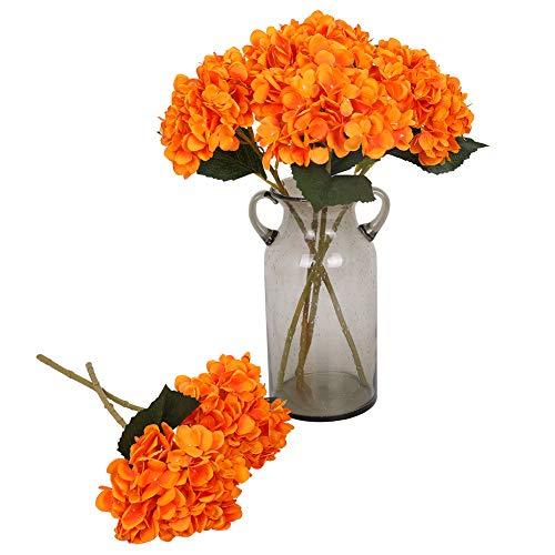 Kisflower 6Pcs Hortensia de Seda Flores Artificiales Hortensia Realista Ramo de Flores para la Fiesta de Bodas Oficina Decoración para el hogar (Naranja)