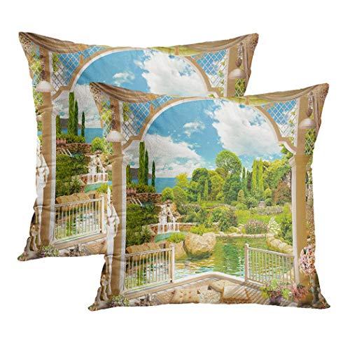 Y·JIANG Funda de cojín de paisaje, terraza con vistas al jardín, árbol de flores, cascada, de terciopelo suave, cuadrada, funda de cojín para sofá, silla, recámara, 45,7 x 45,7 cm, juego de 2