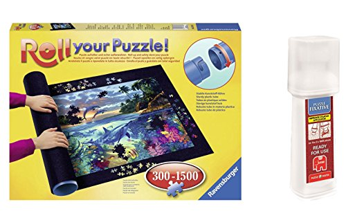 Outletdelocio. Pack Puzzle Roll 1500 Ravensburger 17956. Tapete Universal para Transportar/Guardar Puzzles + Pegamento/Conserver