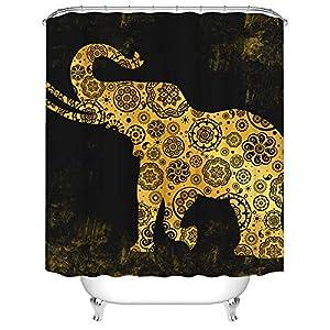 "Elephant Shower Curtain Gold Tribal Wild Animal with Mandala Pattern Bath Curtain Fabric Cloth Bathroom Decor Set with Hooks 72""X72"" Black"