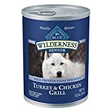 Blue Buffalo Wilderness High Protein, Natural Senior Wet Dog Food, Turkey & Chicken Grill 12.5-oz cans (Pack of 12)