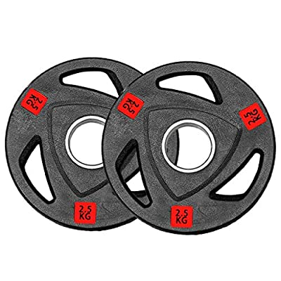 wavsurf Bumper Weight Plate A Pair/One Standard 2 Inch Weight Lifting Plate(2.5-25KG) (2.5)