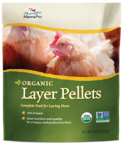 Manna Pro Layer Pellets for Chickens | Non-GMO & Organic High Protein Feed for Laying Hens | 10 Pounds