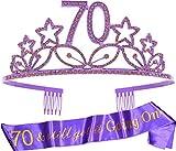 70th Birthday Gifts for Woman, 70th Birthday Tiara and Sash Purple, HAPPY 70th Birthday Party Supplies, 70 & Fabulous Glitter Satin Sash and Crystal Tiara Birthday Crown for 70th Birthday Party Supply