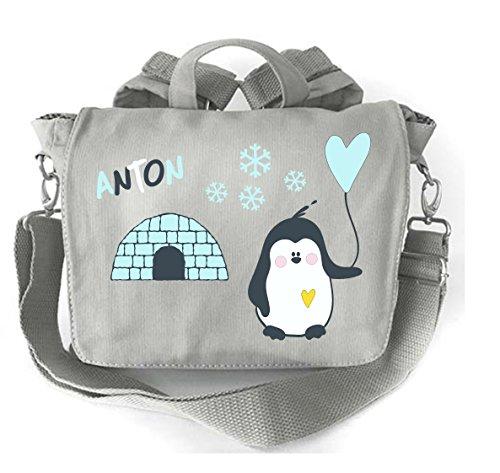 2-in-1 rugzak voor kleuterschool met naam, kleuterschooltas met naam, kinderrugzak, rugzak kinderen, personaliseren en bedrukken, pinguïn