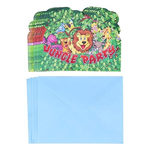BESTOYARD 18 stücke Niedlichen Cartoon Dschungel Thema Einladungskarte Tiere Muster Party Supplies für Kinder Kinder