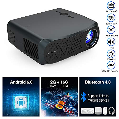 """5G WiFi Projector Native 1080P Full HD with 5500 Lumen Wireless Bluetooth, Support 4K Max 200"""" LCD Multimedia Home Movie HDMI USB Projector with Hi-Fi Speaker, X /Y Zoom, for Presentation PPT, Outdoor"""